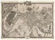 Paris, France 1731 Roussel - Old Map Reprint