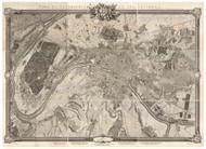 Paris, France 1731 Roussel - Old Map Reprint