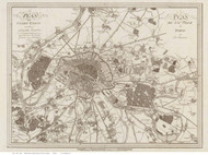 Paris, France 1805 Lantz - Old Map Reprint