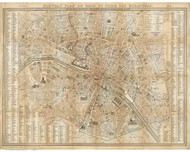 Paris, France 1845 Lallemand - Old Map Reprint