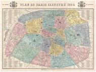 Paris, France 1864 Garnier - Old Map Reprint