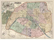 Paris, France 1878 Dumas-Vorzet - Old Map Reprint