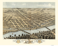 Attica, Indiana 1869 Bird's Eye View