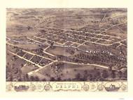 Delphi, Indiana 1868 Bird's Eye View