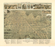 Greencastle, Indiana 1886 Bird's Eye View