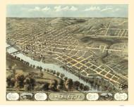 Lafayette, Tippecanoe Co., Indiana 1868 Bird's Eye View