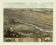 Peru, Indiana 1868 Bird's Eye View
