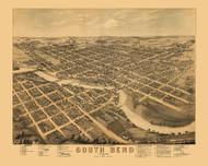 South Bend, Indiana 1874 Bird's Eye View