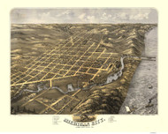 Michigan City, Indiana 1869 Bird's Eye View - River