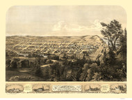 Michigan City, Indiana 1869 Bird's Eye View - Trees