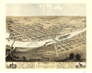 Cedar Rapids & Kingston, Iowa 1868 Bird's Eye View