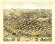 Council Bluffs, Iowa 1868 Bird's Eye View