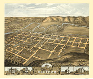 Decorah, Iowa 1870 Bird's Eye View