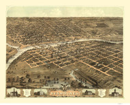 Des Moines, Iowa 1868 Bird's Eye View