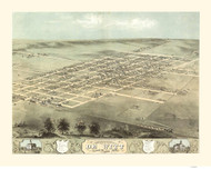 DeWitt, Iowa 1868 Bird's Eye View