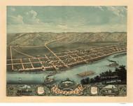 Guttenberg, Iowa 1869 Bird's Eye View