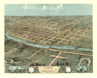 Iowa City, Iowa 1868 Bird's Eye View