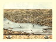 Lyons, Iowa 1868 Bird's Eye View