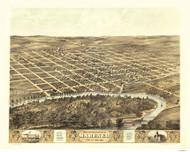 Marengo, Iowa 1868 Bird's Eye View