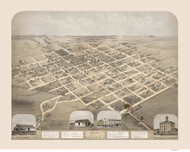 Pella, Iowa 1869 Bird's Eye View