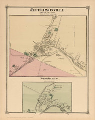 Jeffersonville and North Branch, New York 1875 - Old Town Map Reprint - Sullivan Co. Atlas