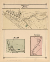 Callicoon Depot, Pike Pond and Hortonville, New York 1875 - Old Town Map Reprint - Sullivan Co. Atlas