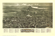 Amesbury, Massachusetts 1914 Bird's Eye View - Old Map Reprint