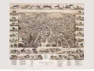 Amesbury and Salisbury Mills, Massachusetts 1880 Bird's Eye View - Old Map Reprint BPL