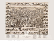 Amesbury and Salisbury Mills, Massachusetts 1880 Bird's Eye View - Old Map Reprint BPL