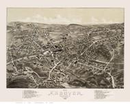 Andover, Massachusetts 1882 Bird's Eye View - Old Map Reprint BPL