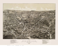 Andover, Massachusetts 1882 Bird's Eye View - Old Map Reprint BPL