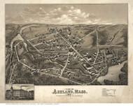 Ashland, Massachusetts 1878 Bird's Eye View - Old Map Reprint