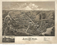 Ashland, Massachusetts 1878 Bird's Eye View - Old Map Reprint