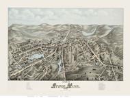 Athol, Massachusetts 1878 Bird's Eye View - Old Map Reprint BPL