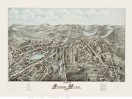 Athol, Massachusetts 1878 Bird's Eye View - Old Map Reprint BPL
