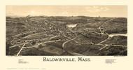 Baldwinville, Massachusetts 1886 Bird's Eye View - Old Map Reprint