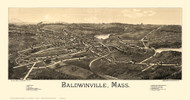 Baldwinville, Massachusetts 1886 Bird's Eye View - Old Map Reprint