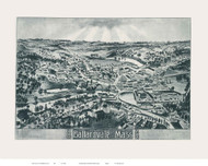 Ballardville, Massachusetts 1885 Bird's Eye View - Old Map Reprint BPL