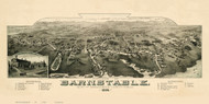 Barnstable, Massachusetts 1884 Bird's Eye View - Old Map Reprint