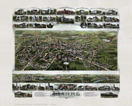 Barre, Massachusetts 1891 Bird's Eye View - Old Map Reprint