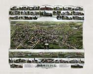 Barre, Massachusetts 1891 Bird's Eye View - Old Map Reprint
