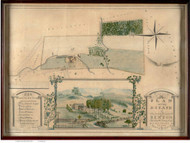 Benton Estate, Richland, Massachusetts ca 1850- 1869 Bird's Eye View - Old Map Reprint BPL