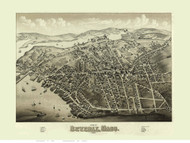 Beverly, Massachusetts 1879 Bird's Eye View - Old Map Reprint BPL