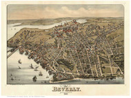 Beverly, Massachusetts 1886 Bird's Eye View - Old Map Reprint
