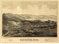 Blackinton, Massachusetts 1889 Bird's Eye View - Old Map Reprint