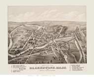 Blackstone, Massachusetts 1879 Bird's Eye View - Old Map Reprint BPL