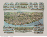 Bradford, Massachusetts 1892 Bird's Eye View - Old Map Reprint BPL