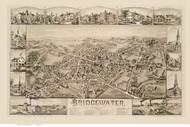 Bridgewater, Massachusetts 1887 Bird's Eye View - Old Map Reprint BPL