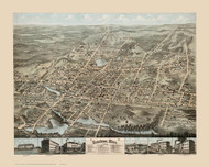 Brockton, Massachusetts 1878 Bird's Eye View - Old Map Reprint BPL