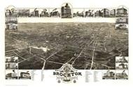 Brockton, Massachusetts 1882 Bird's Eye View - Old Map Reprint